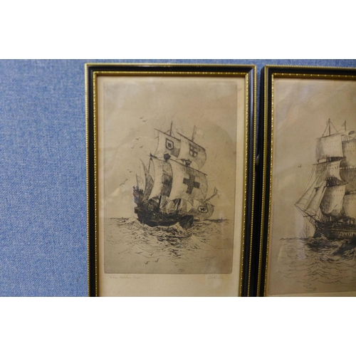 20 - A pair of engravings, H.M.S. Victory and The Golden Hind, 28 x 17cms, framed