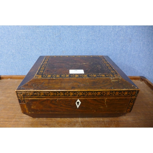 28 - A Victorian inlaid rosewood lady's sewing box