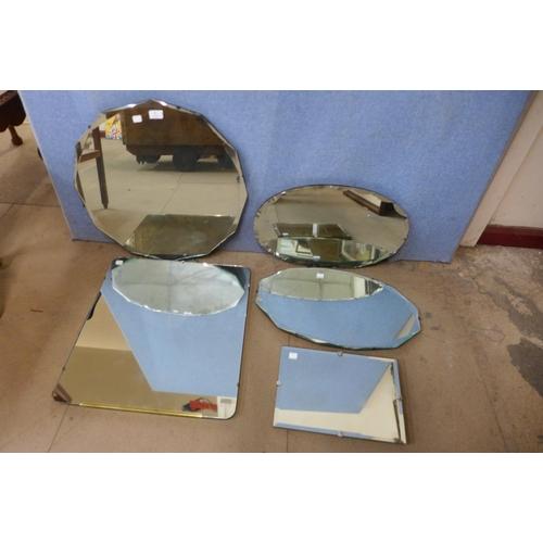 33 - Five bevel edge mirrors