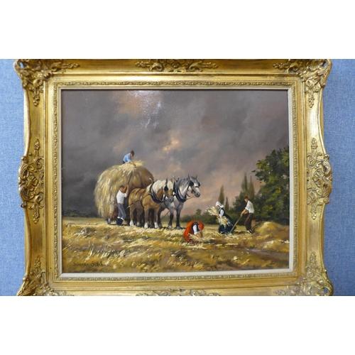 5 - Barbara Gudrun Sibbons (German b. 1925), Haystacks, oil on board, 39 x 49cms, framed