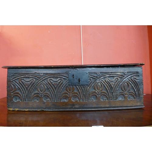 51a - A Charles II carved oak Bible box