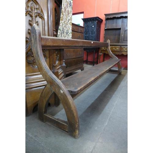 55 - A Victorian Gothic pine church pew
