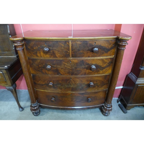 56 - A Victorian Scottish mahogany bow front chest of drawers