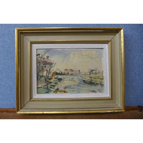 7 - Neno Mori, Venetian scene, oil on board, dated 1963, 19 x 29cms, framed