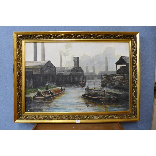 8 - British School, Ashton canal, Duckinfield, oil on canvas, indistinctly signed, 60 x 90cms, framed