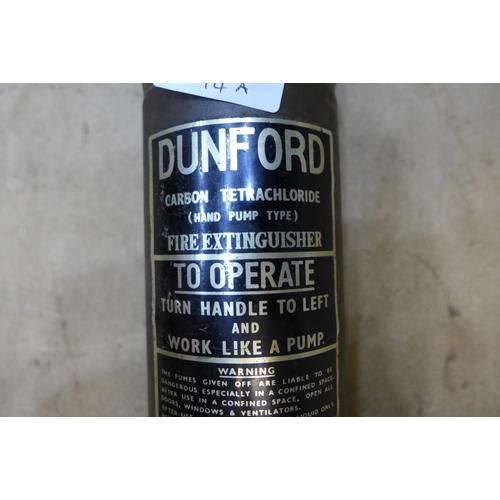 2033 - Vintage brass vehicle fire extinguisher (hand pump type)
