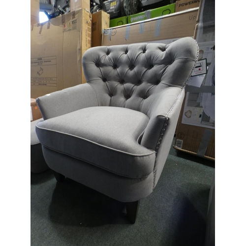 3018 - Home Meridian Fabric Chair With footstool, RRP £333.33 + VAT (226-37) * This lot is subject to VAT