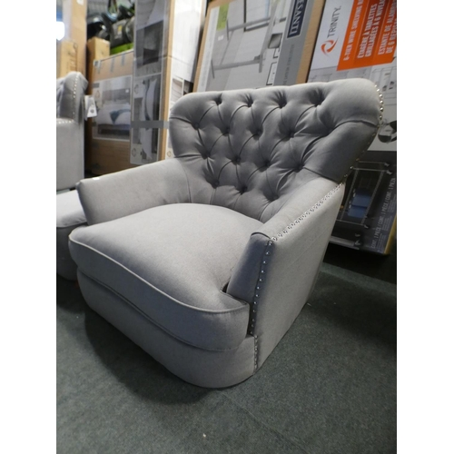 3019 - Home Meridian Fabric Chair With footstool, RRP £333.33 + VAT (226-73) * This lot is subject to VAT