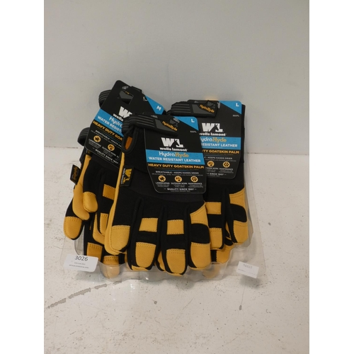 3026 - Quantity of Wells Lamont Men's Hydrahyde Gloves, mixed sizes (227-416, 417) * This lot is subject to...
