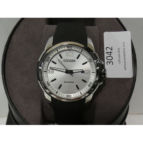3042 - Aw1150-07A Citizen Gents watch - black rubber strap (227-387) * This lot is subject to VAT