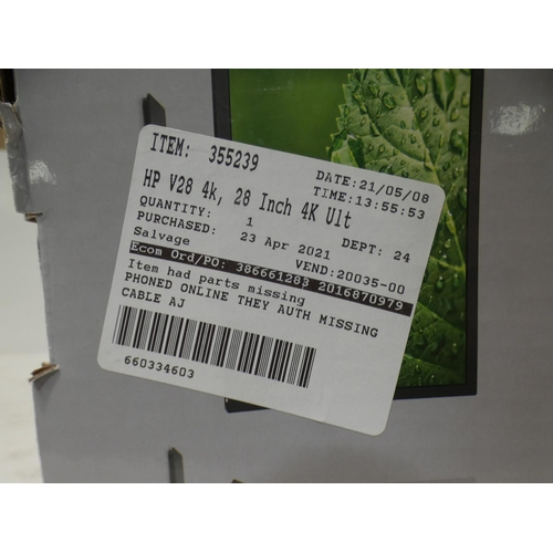 3052 - Hp 28''  4K Tn Monitor - 3840 X 2160  8WH58AA , RRP £233.33 + vat     (227-360) * This lot is subjec...