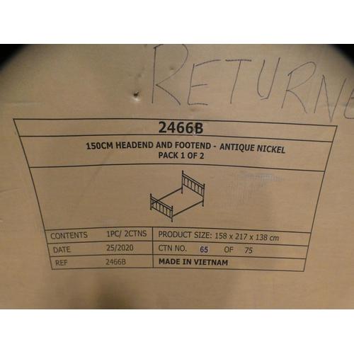 3311 - Antique Nickel Cristina Kingsize Metal Bed (150cm), RRP £316.66 + VAT (226-26) * This lot is subject...