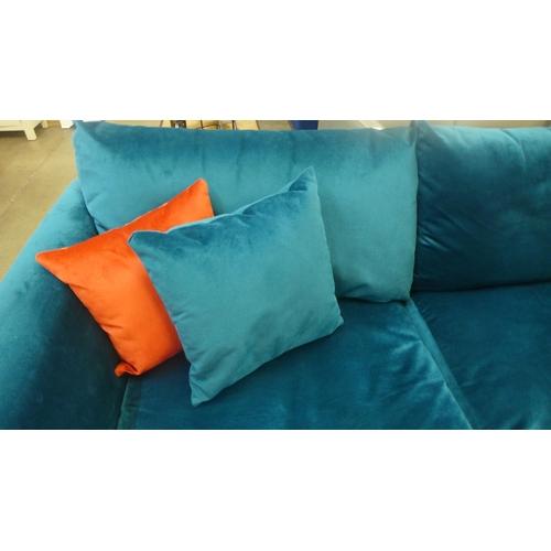 1301 - A teal blue upholstered corner sofa (ex-display)