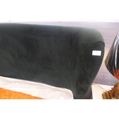 1305 - A green velvet upholstered kingsize bedframe (ex-display, some marks, missing fittings)