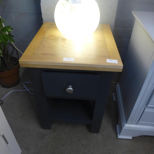 1346 - A Hampshire blue painted oak small single drawer bedside table (KEL P04-73)   *This lot is subject t...