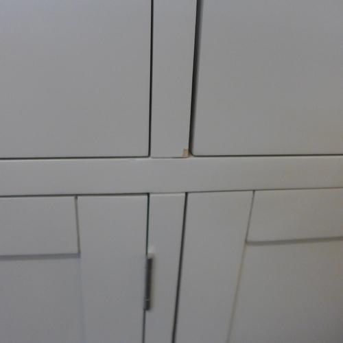 1349 - A Hampshire cream painted oak three door large sideboard (KEL P05-82)