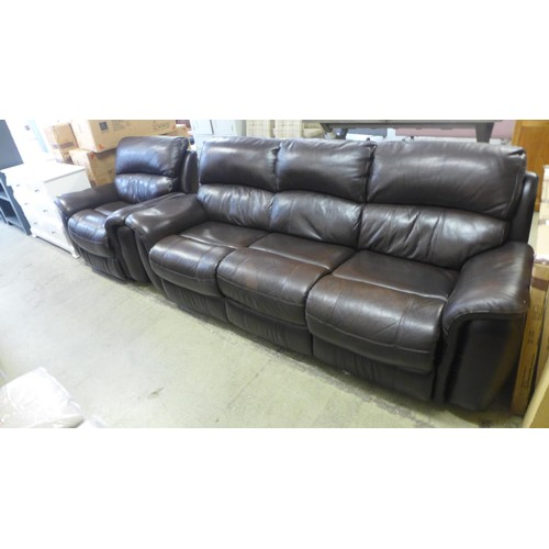 A brown leather sofa and chair