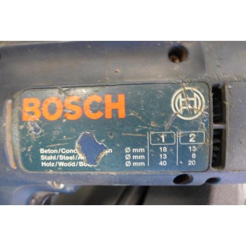 2027 - Bosch GSB 18-2 110v hammer drill in a case, Challenge PDH26A 240v 900w SOS hammer drill in a case