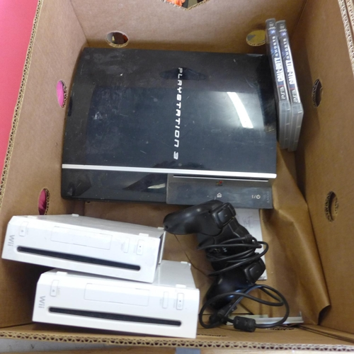 2042 - 2 Boxes of gaming - 4 XBox 360, 1PS3 and 2 Wii with a quantity of games