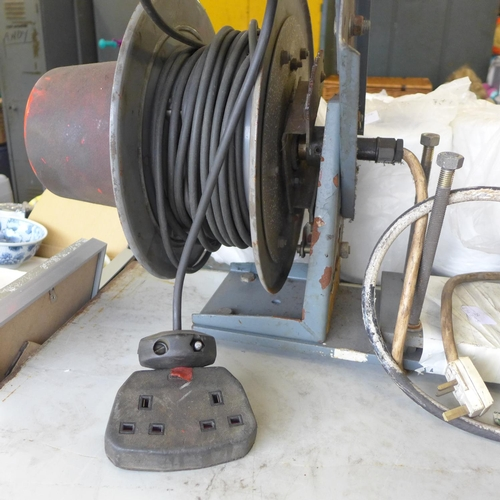 2055 - 2 Mounted spring reels air hose and 240v extension reel