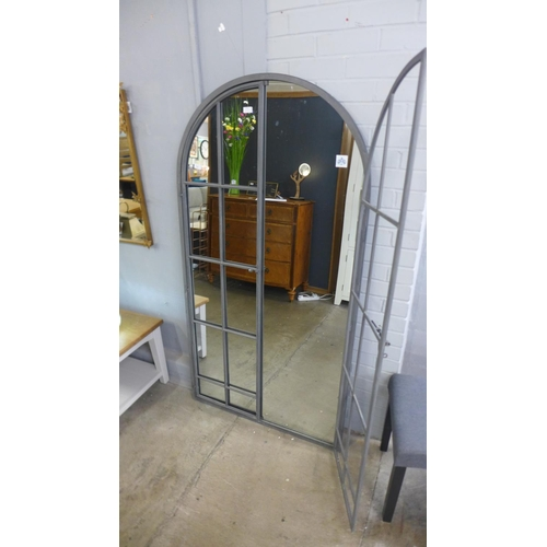 1312 - A large iron mirror in the style of an opening arched window, H170cms (MP1789)   #