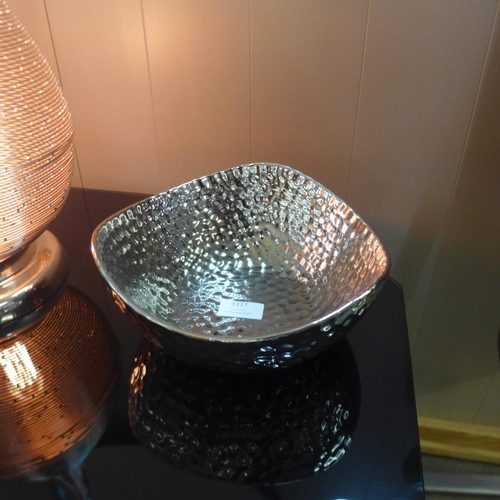 1317 - A silver finish dimple effect bowl (1661807)   #