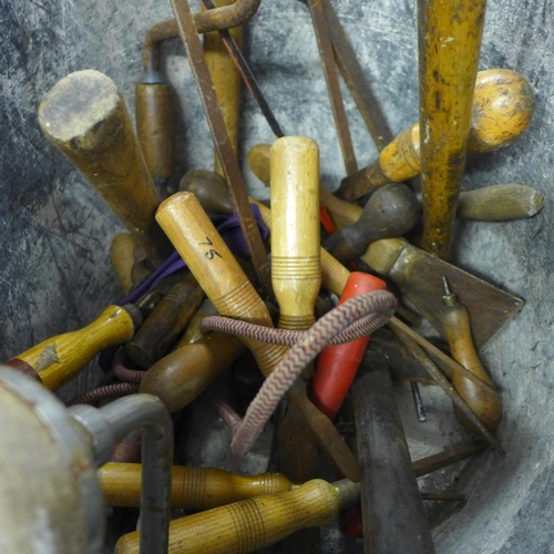 2009 - Bucket of woodworking tools - many vintage pieces