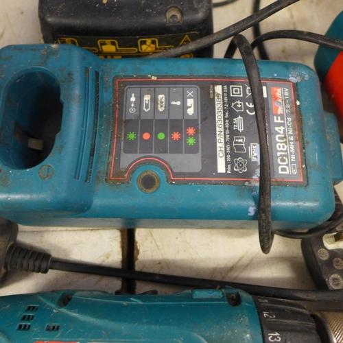 2020 - Pr. of Makita drills, charger & 2 batteries plus Dewalt drill & charger