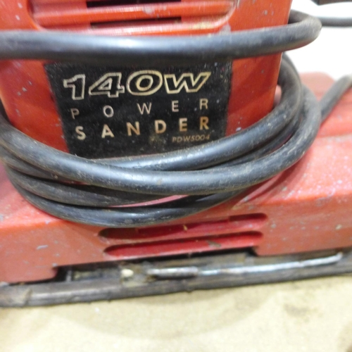 2019 - 4 Electric sanders; Bosch PBS60 belt sander, 2 Black & Decker detail sanders & Power Devil sander