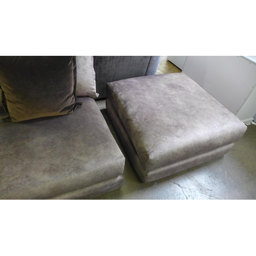 1301 - A copper velvet corner sofa and footstool