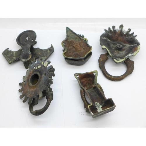 639 - Five door knockers including novelty bat and cat