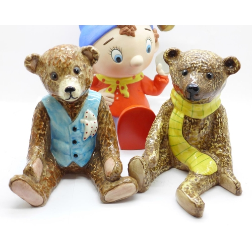 650 - A Noddy money bank, two Royal Doulton Beswick Teddy bears, Benjamin and Archie and a Royal Doulton W...