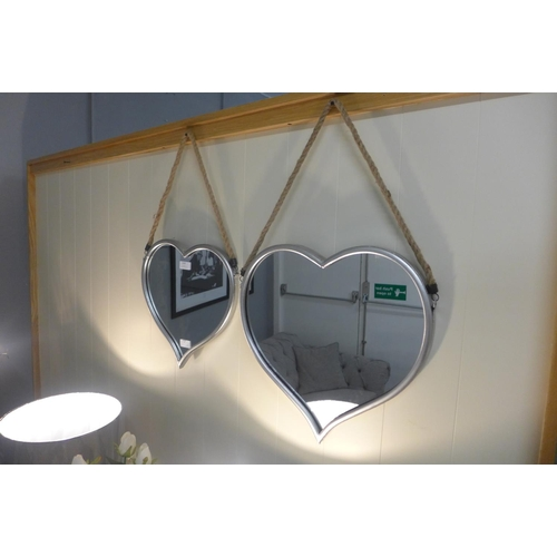 1453 - A set of silver mirrors with rope hangers (1838917)   #