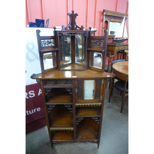 12 - A Victorian Aesthetic Movement Japanese influence mahogany freestanding corner cabinet