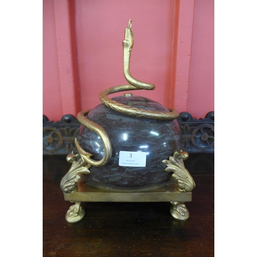 3 - A French style marble and gilt metal serpentine centrepiece