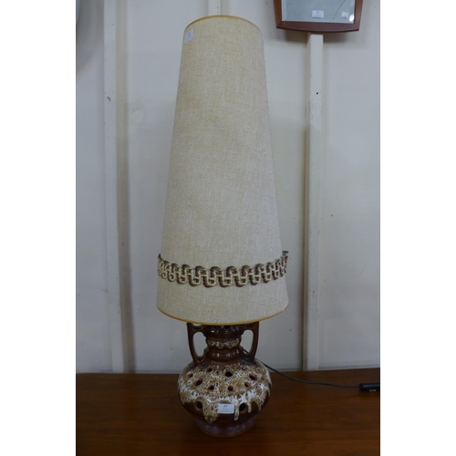 47 - A 1970's West German drip glazed table lamp