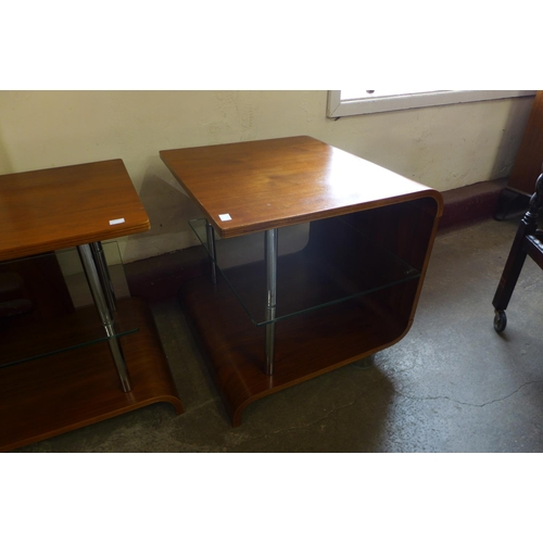 49 - A chrome and walnut side cabinet and pair of matching tables