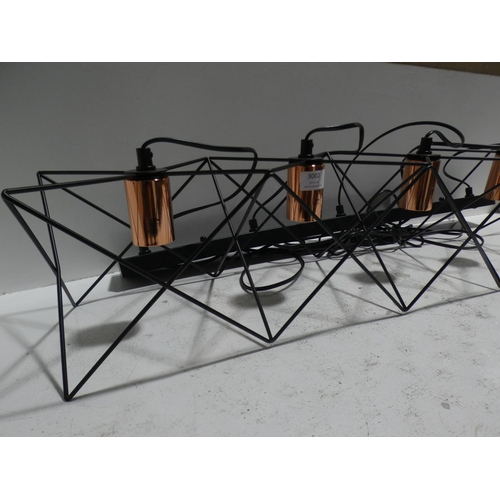 3002 - A copper effect and black metal 5-light pendant light * this lot is subject to VAT