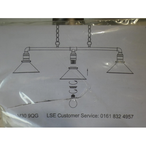 3009 - An industrial style Whitley 3-light pendant light * this lot is subject to VAT
