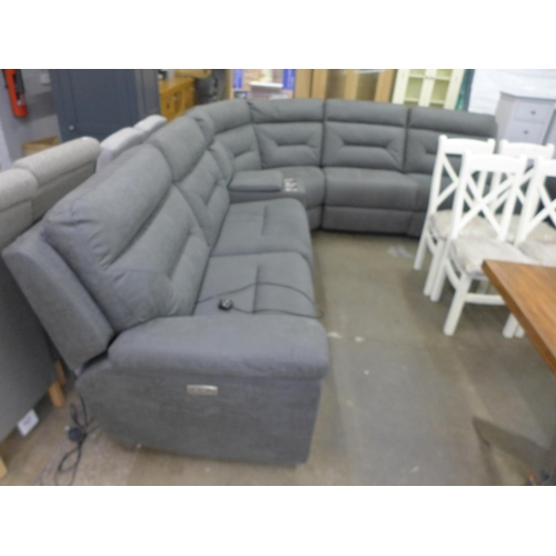 1571 - A Justin grey fabric reclining sectional sofa, RRP £1541.66 + VAT (4061-20 ) * This lot is subject t...