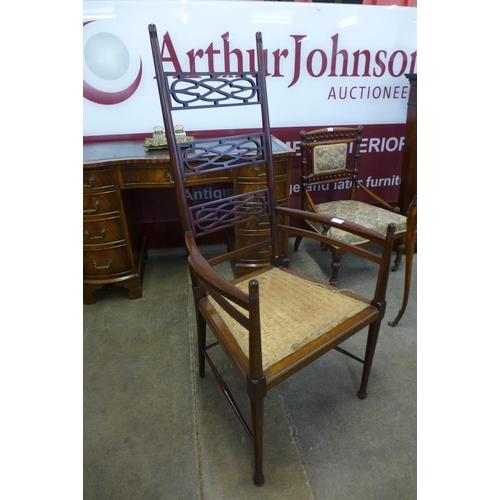 599 - A Scottish Arts and Crafts mahogany armchair