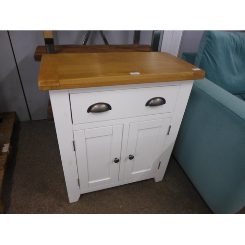 1340 - A Chester white painted oak two door small sideboard (NC-SMS-W)  *This lot is subject to VAT
