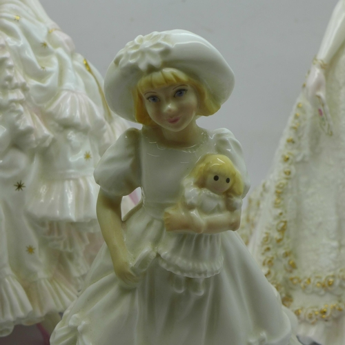604 - Three Royal Worcester figures, Royal Debut and Sweetest Valentine, both limited edition and Katie