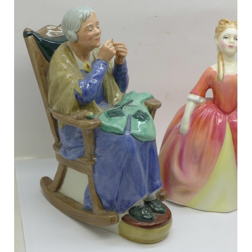 608 - Three Royal Doulton figures; Penny's Worth, Debbie and A Stitch in Time