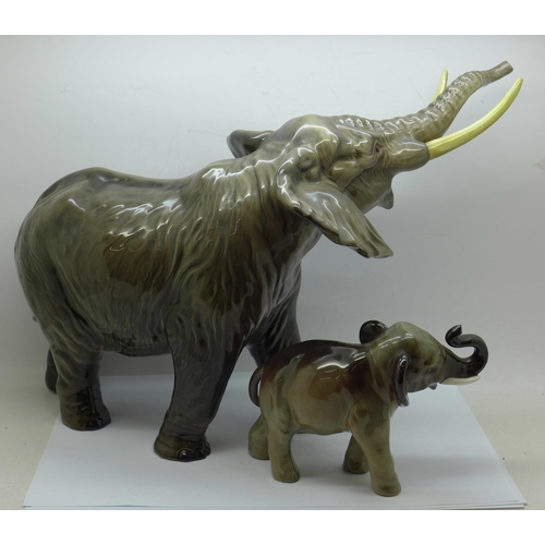 610 - A Royal Doulton model of an elephant and a larger model of an elephant