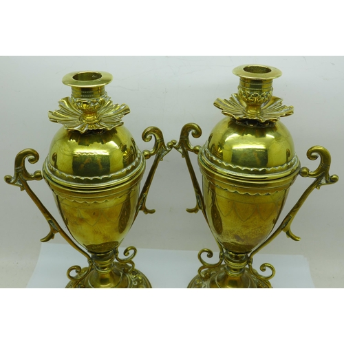 614 - A pair of vintage brass convertible urns/candle holders, 23.5cm