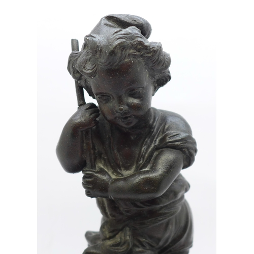 623 - A 19th Century bronzed figure on a marble base, a/f