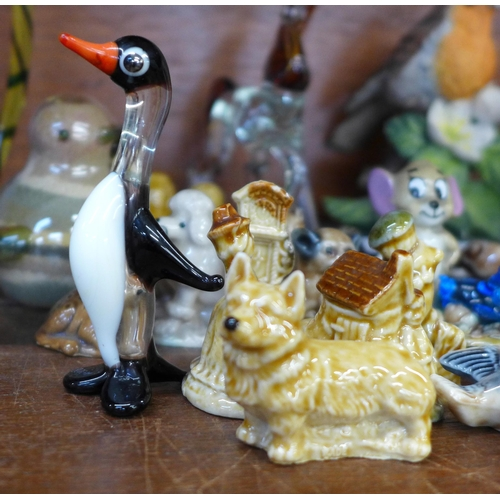 635 - A collection of animal figures including Wade Whimsies, glass animals, two bird figures and Wade Tom...