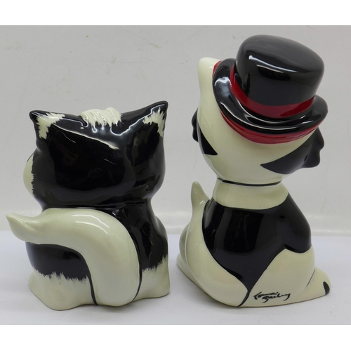 639 - Lorna Bailey, 'Moonlight the Cat' and 'Marvin the Cat', signed on the base
