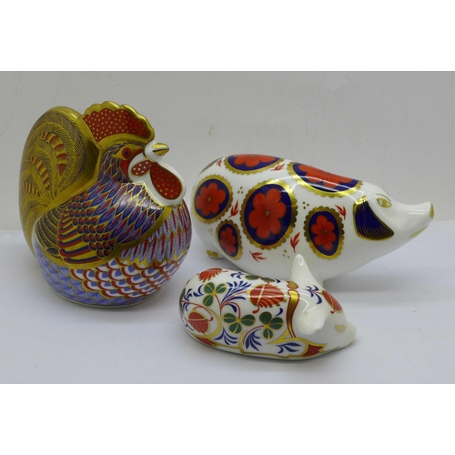 642 - Three Royal Crown Derby Paperweights - 'Cockerel',  date code for 1993, Gold stopper, red printed ma...